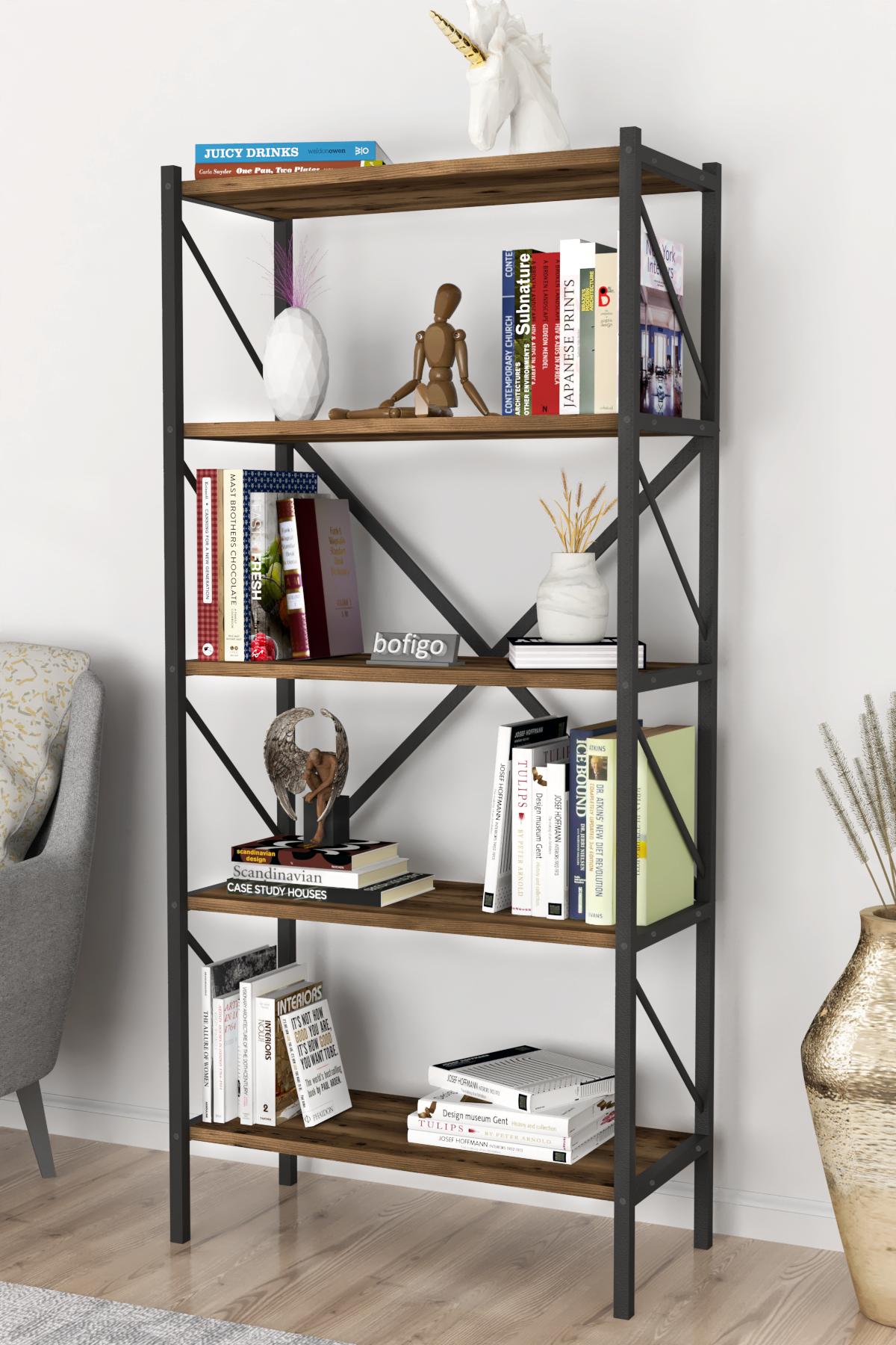 Bofigo Decorative 5 Shelf Bookcase Metal Bookcase Patik