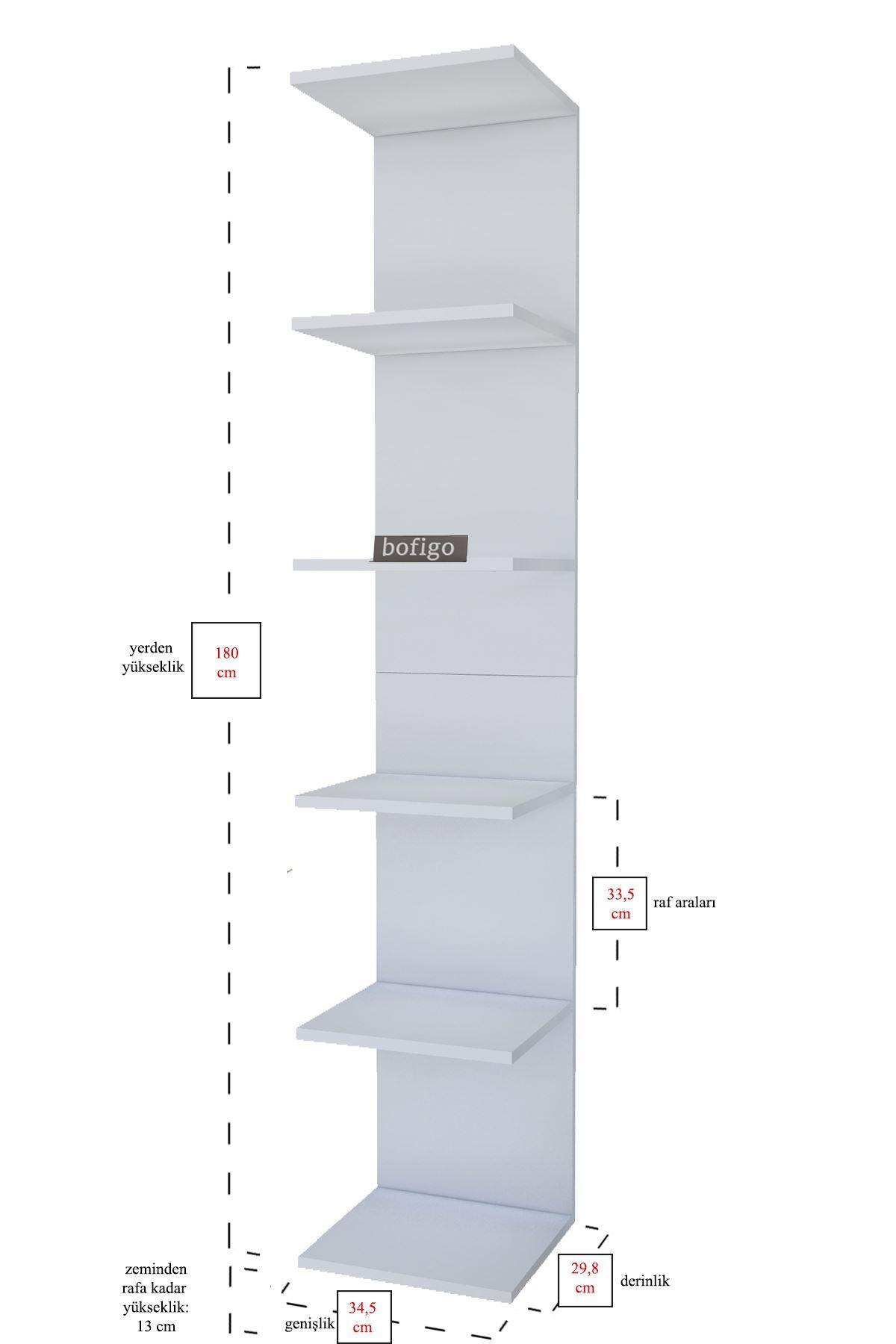 Bofigo Duvara Monte Kitaplık Duvar Rafı Beyaz