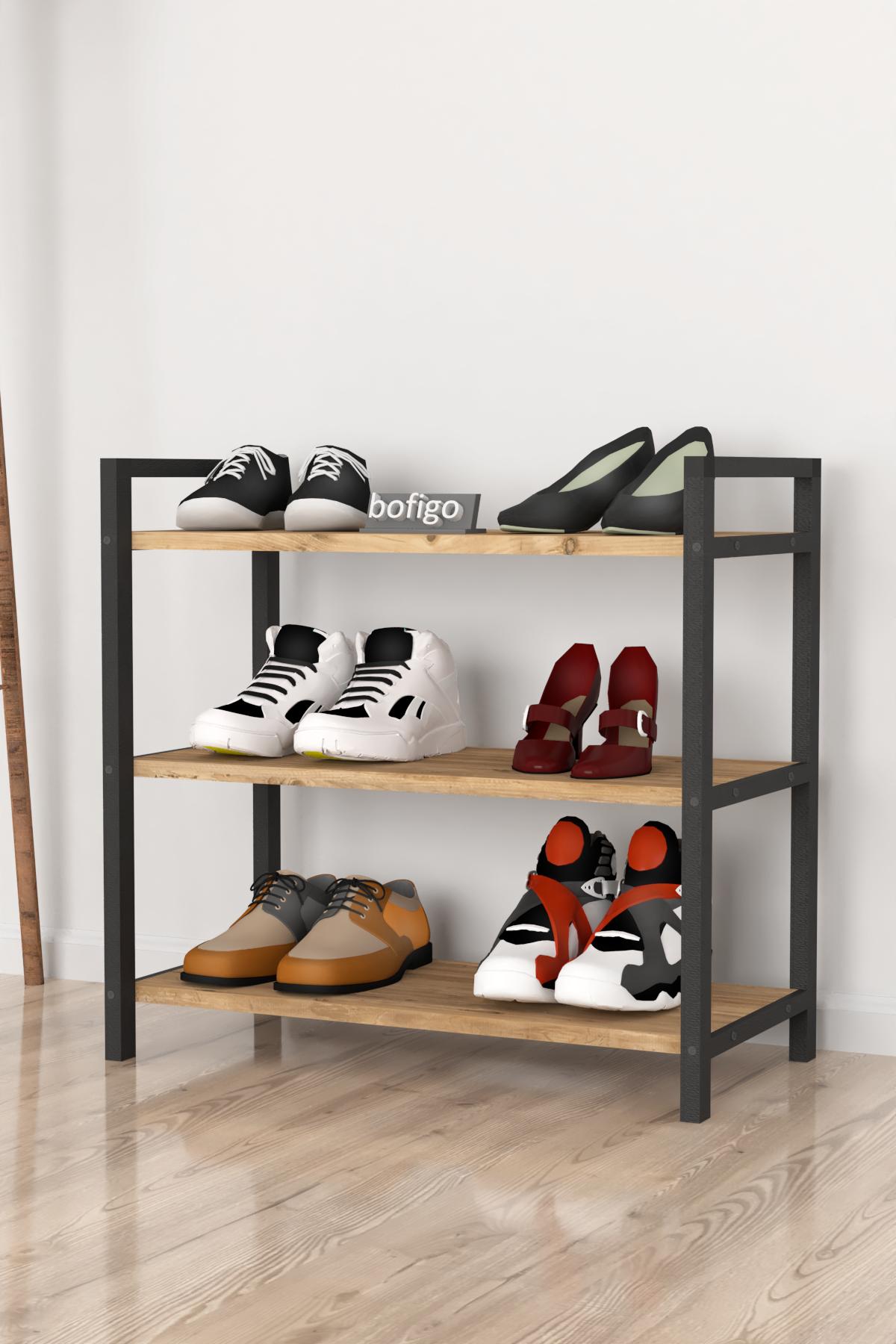 Bofigo Dekoratif 3 Raflı Ayakkabılık Metal Ayakkabılık Çam
