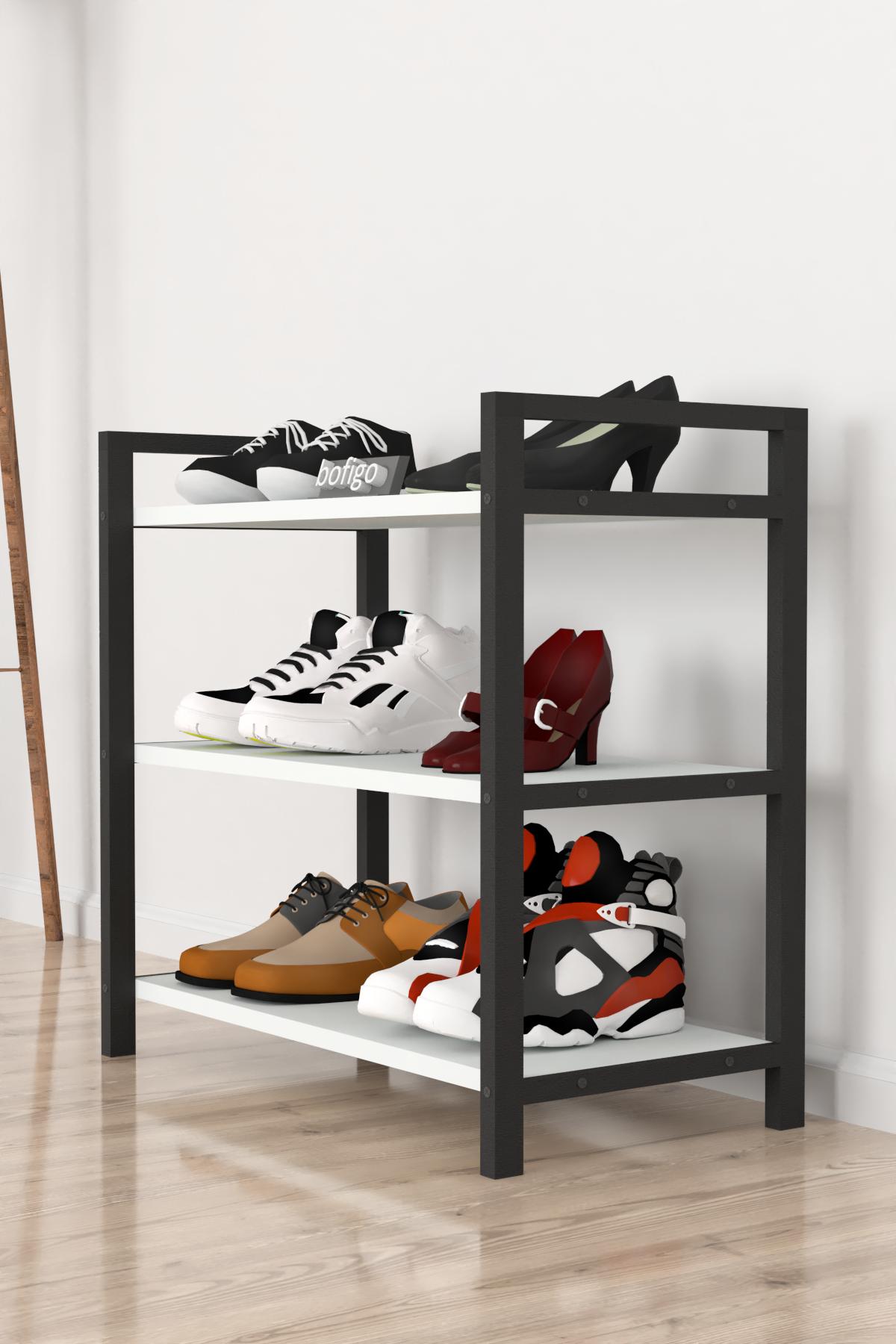 Bofigo Dekoratif 3 Raflı Ayakkabılık Metal Ayakkabılık Beyaz