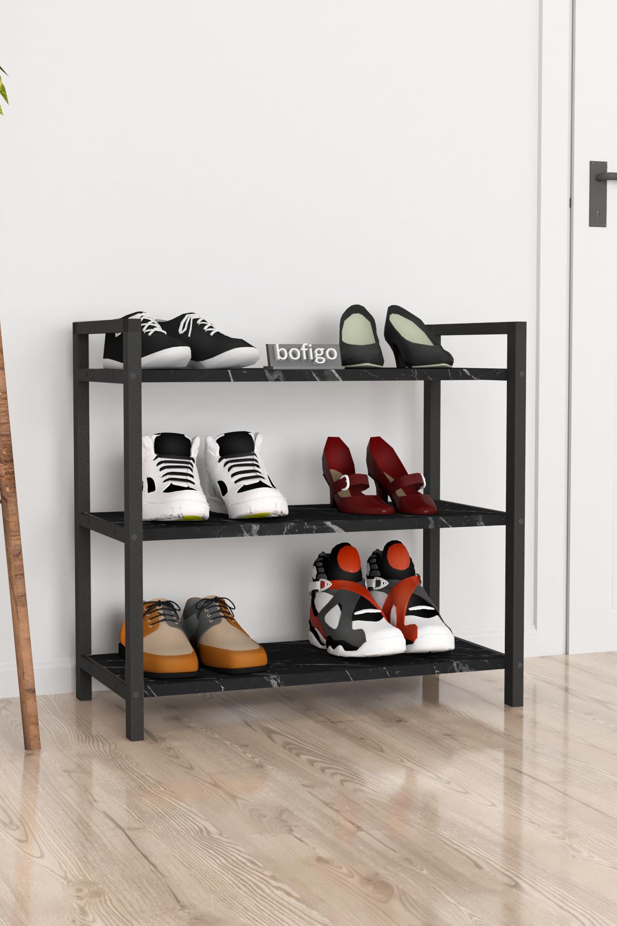Bofigo Dekoratif 3 Raflı Ayakkabılık Metal Ayakkabılık Bendir