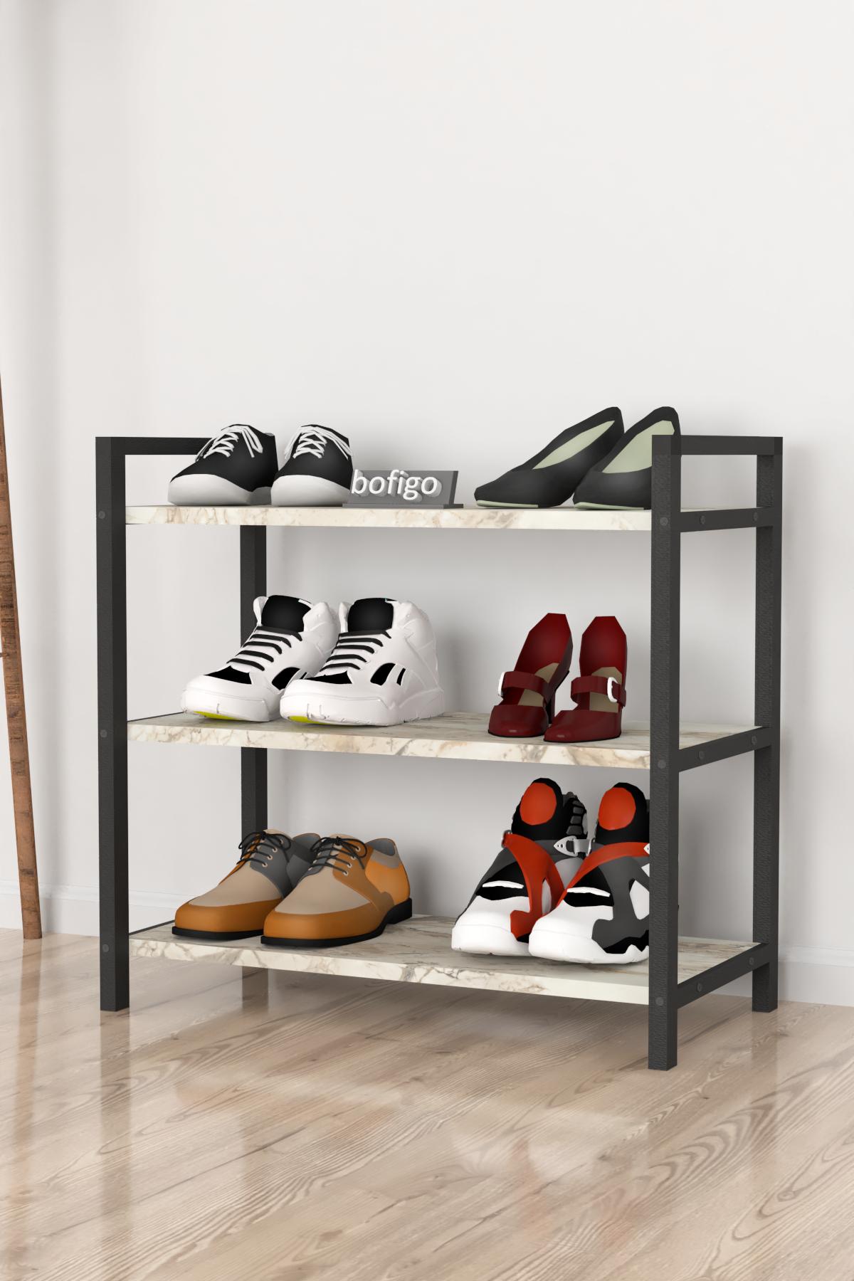 Bofigo Dekoratif 3 Raflı Ayakkabılık Metal Ayakkabılık Efes