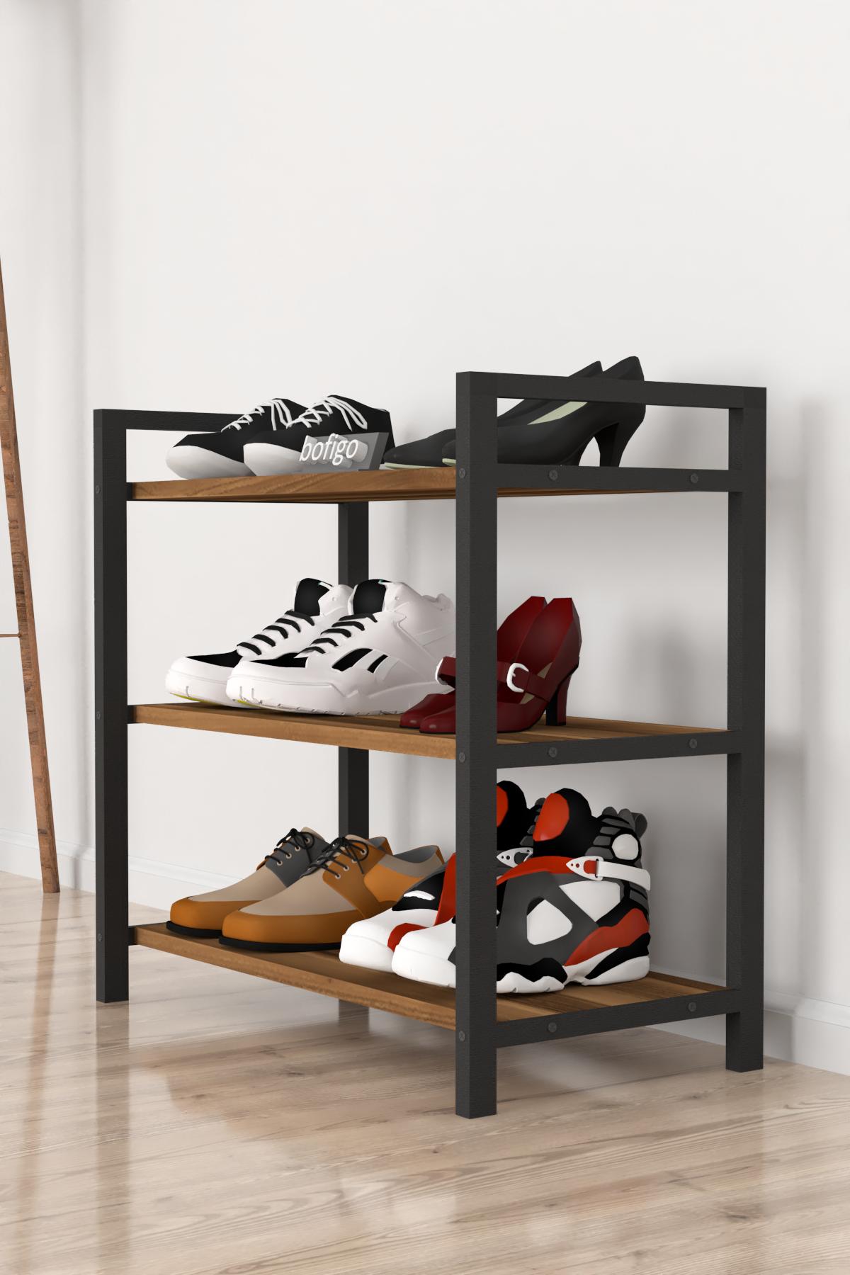 Bofigo Dekoratif 3 Raflı Ayakkabılık Metal Ayakkabılık Ceviz