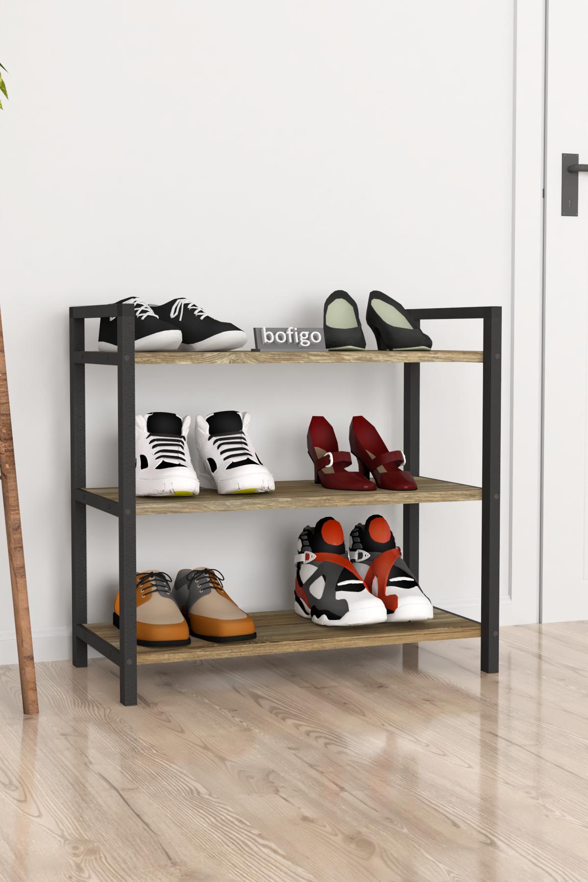 Bofigo Dekoratif 3 Raflı Ayakkabılık Metal Ayakkabılık Patik