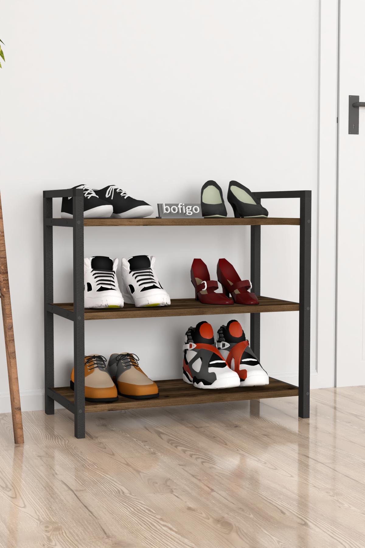Bofigo Dekoratif 3 Raflı Ayakkabılık Metal Ayakkabılık Lidya