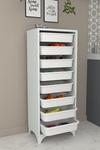 Bofigo 8 Basket Kitchen Cabinet Multi-Purpose Cupboard Crisper White