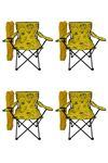 Bofigo 4 Pcs Camping Chair Folding Chair Garden Chair Picnic Beach Chair Patterned Yellow