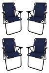 Bofigo 4 Pcs Camping Chair Folding Chair Picnic Chair Beach Chair Navy Blue
