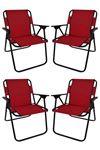 Bofigo 4 Pcs Camping Chair Folding Chair Picnic Chair Beach Chair Red