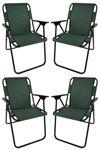 Bofigo 4 Pcs Camping Chair Folding Chair Picnic Chair Beach Chair Green