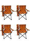 Bofigo 4 Adet Kamp Sandalyesi Katlanır Sandalye Bahçe Koltuğu Piknik Plaj Sandalyesi Desenli Turuncu